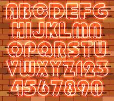 36个橙色霓虹灯字母和数字矢量