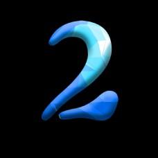 蓝色晶格化数字2