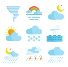 扁平创意天气预报图标