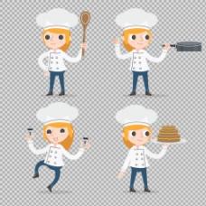 可爱美女厨师免抠png透明图层素材