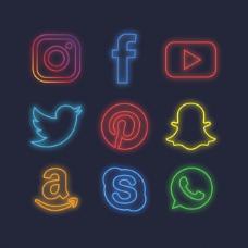 霓虹灯社交媒体图标