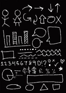 简单黑白粉笔画涂鸦