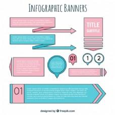 蓝色和粉红色的信息图表的横幅