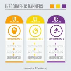 信息图表的横幅,不同颜色的包