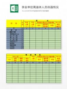 机关事业单位离退休人员待遇情况统计表