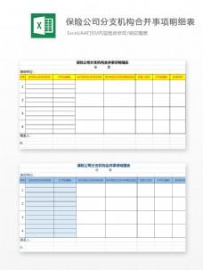保险公司分支机构合并事项Excel模板2