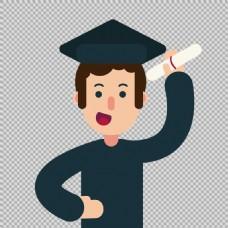创意毕业生插图免抠png透明图层素材