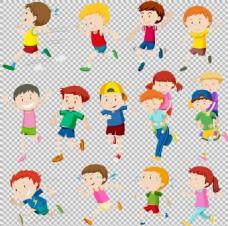 卡通小孩跑步者免抠png透明图层素材