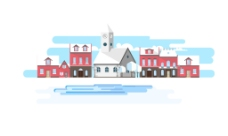 特色乡村建筑插画