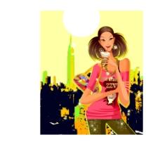 城市背景女生喝饮料的插画