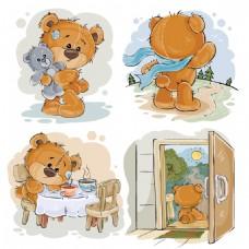 彩绘泰迪熊设计矢量
