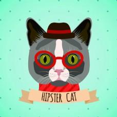 卡通打扮时髦的猫咪