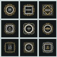 金边欧式复古华丽装饰Logo设计矢量
