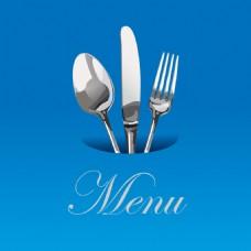 蓝色立体餐厅菜单Logo设计
