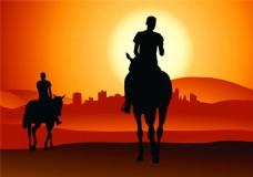 骑马的男人剪影图片