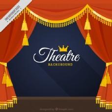 剧院帷幔背景与金色的细节