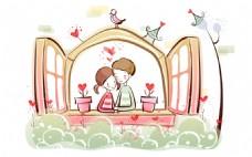 卡通窗户上的情侣背景图