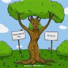 世界环境日可爱树的背景