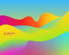 七彩明亮的抽象波浪背景