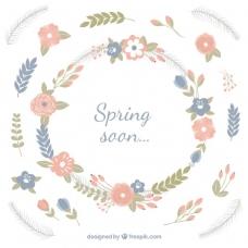春天背景,花朵柔和的色调
