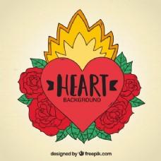 用手绘制玫瑰的心形纹身背景