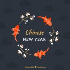 中式新年锦鲤图案