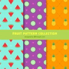 几种带有彩色水果的扁平图案
