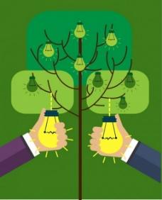 植物电灯矢量背景