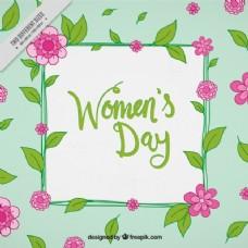以粉红花朵和绿叶为背景的妇女节背景