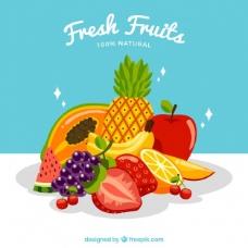 新鲜水果的背景