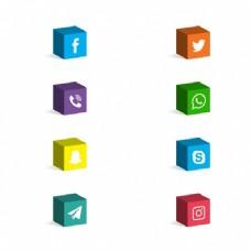 3D社交媒体图标