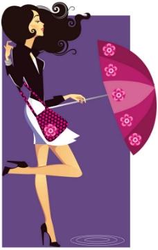 时尚美女雨伞背景图