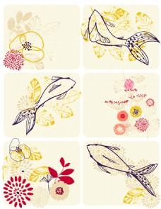 多种花纹鱼类装饰图案