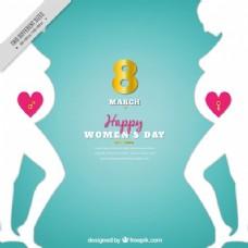 妇女日背景与孕妇剪影
