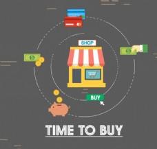 网上购物横幅圈过程设计矢量图