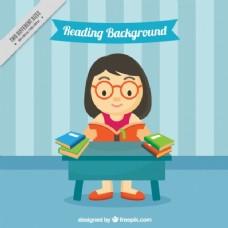 平面设计中女孩阅读的背景