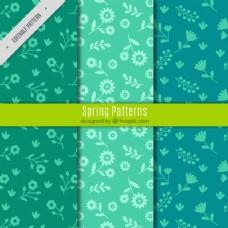 三个绿色图案的弹簧图案