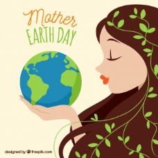 抱着地球的可爱女人
