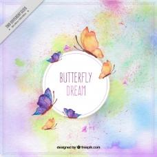 画有水彩的蝴蝶的奇妙背景