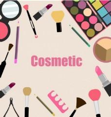 漂亮彩妆化妆品矢量图
