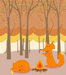 森林里可爱黄色狐狸背景图