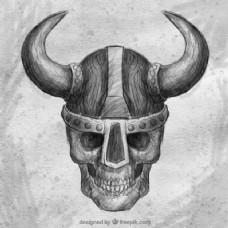 骷髅背景与维京头盔