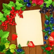 俯视水果海报卡片背景矢量