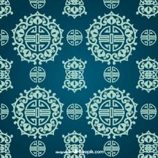 中式纹样蓝色