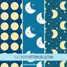 一组漂亮的月亮图案