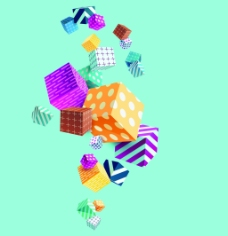 立方体动感音乐娱乐背景矢量素材