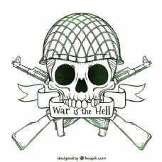 骷髅背景与手工士兵头盔