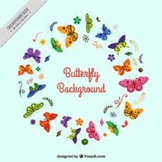 彩色蝴蝶在平面设计中的圆形背景