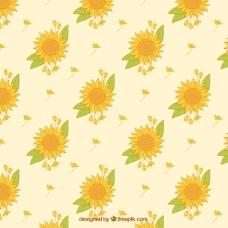 向日葵和手绘树叶的装饰图案