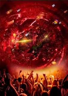 热气球欢呼的人群红色背景素材